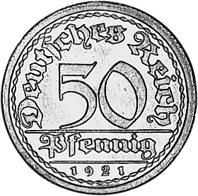 1919-1922 Germany, Weimar Republic 50 Pfennig obverse