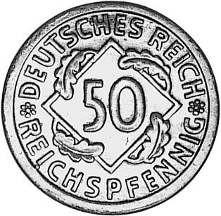 1924-1925 Germany, Weimar Republic 50 Reichspfennig obverse