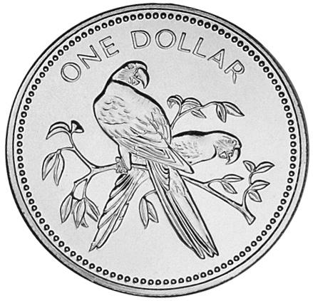 1974-1981 Belize Dollar reverse