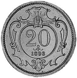 1892-1914 Austria 20 Heller reverse