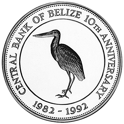 1992 BELIZE 10 Dollars reverse