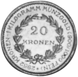 1923-1924 Austria 20 Kronen reverse