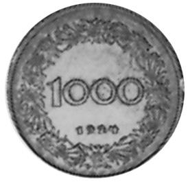 1924 Austria 1000 Kronen reverse