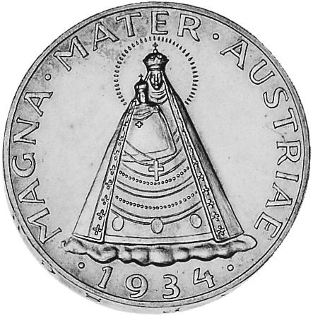 1934-1936 Austria 5 Schilling reverse