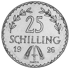 1926-1934 Austria 25 Schilling reverse