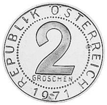 1950-1994 Austria 2 Groschen reverse