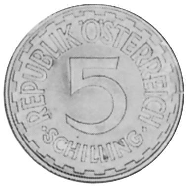 1952-1957 Austria 5 Schilling obverse