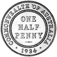 1911-1936 Australia 1/2 Penny reverse