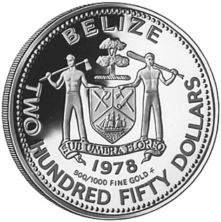 1978 BELIZE 250 Dollars obverse