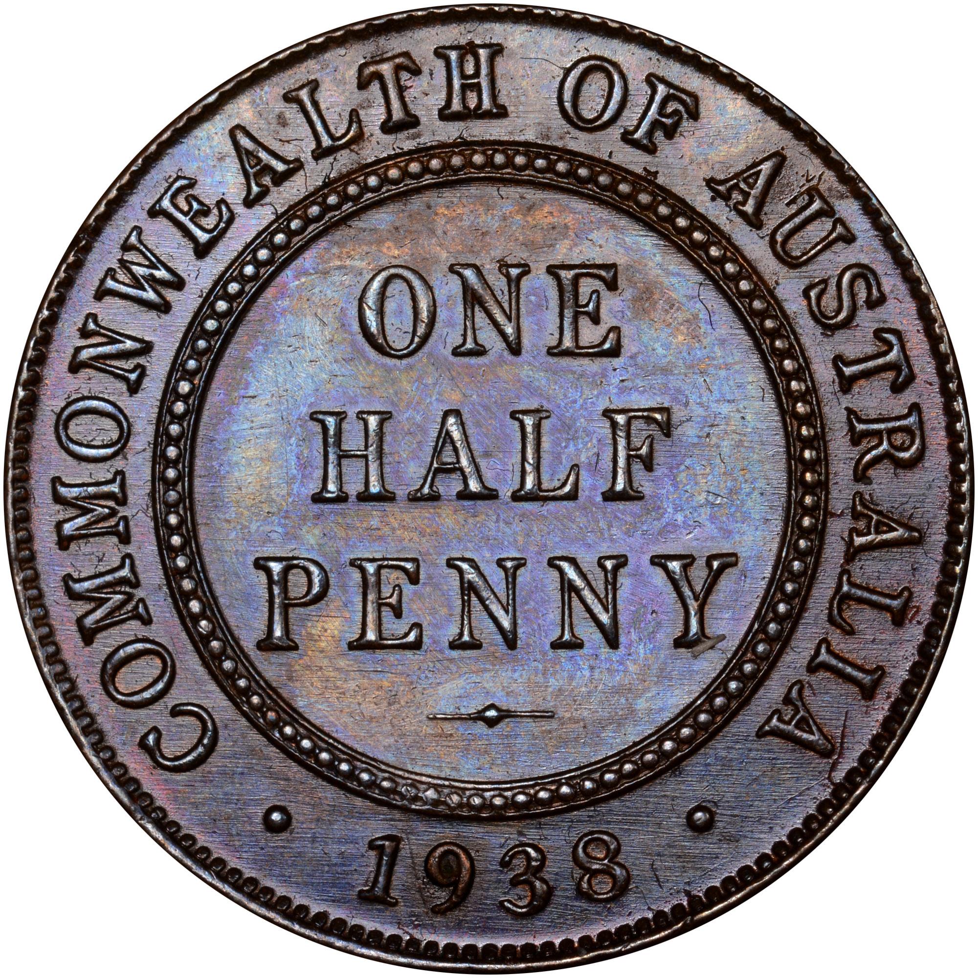 1938-1939 Australia 1/2 Penny reverse