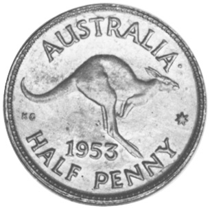 1953-1955 Australia 1/2 Penny reverse