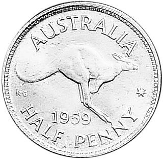 1959-1964 Australia 1/2 Penny reverse