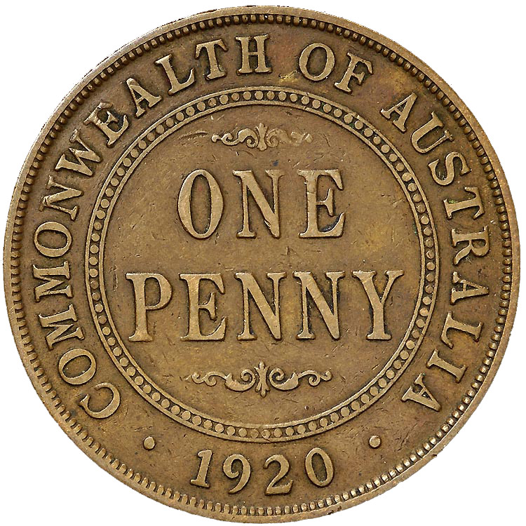 1911-1936 Australia Penny reverse