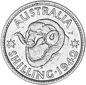 1938-1944 Australia Shilling reverse