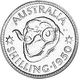 1950-1952 Australia Shilling reverse