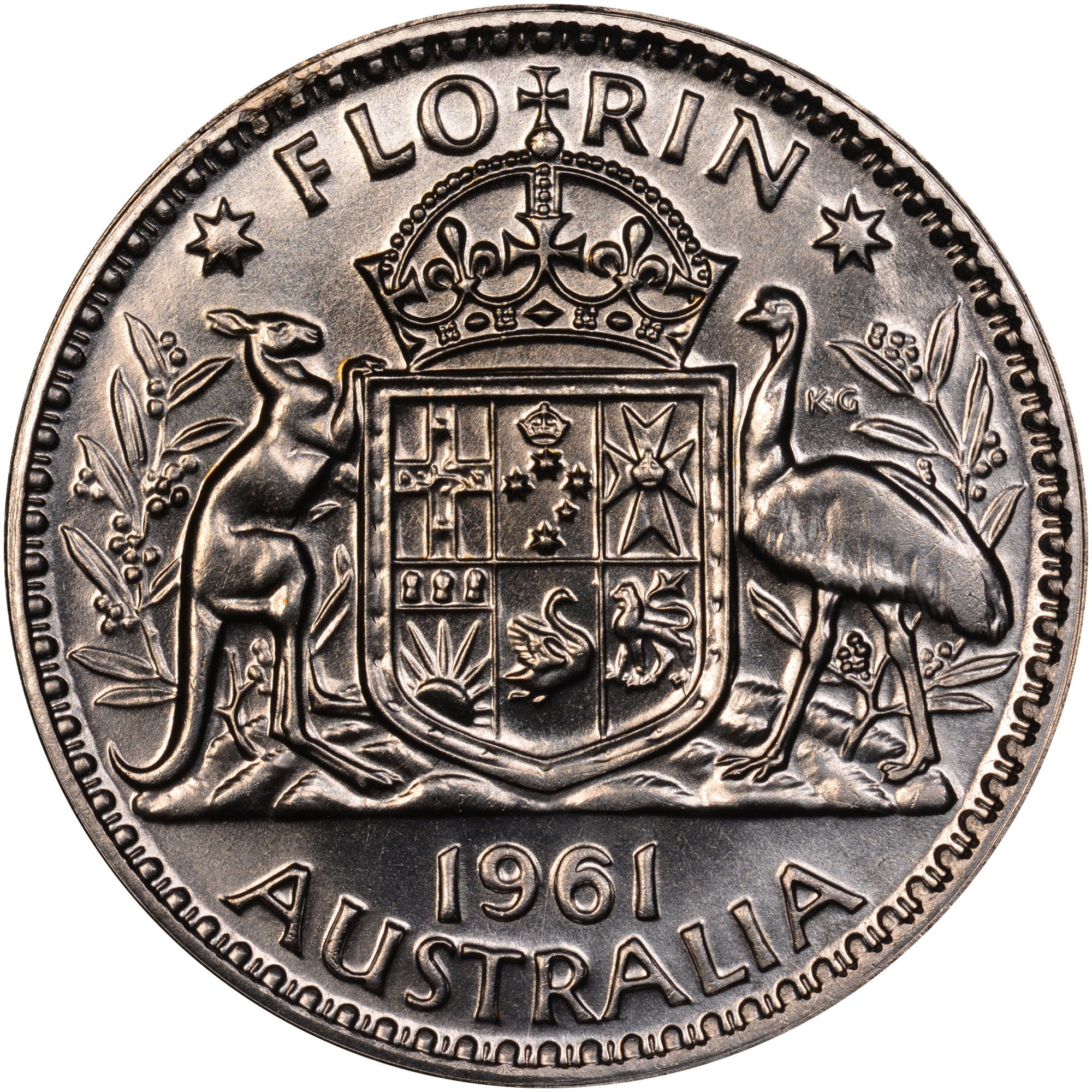 1956-1963 Australia Florin reverse