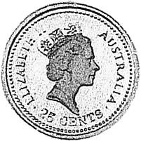 1989 Australia 25 Cents obverse