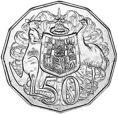 1969-1984 Australia 50 Cents reverse