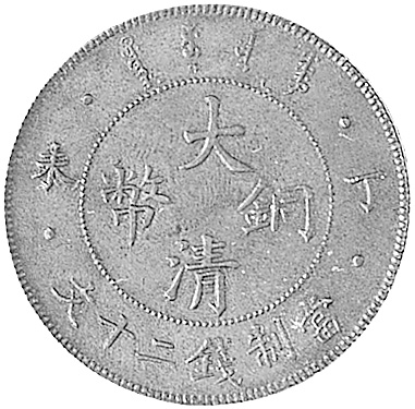 1907 CHINA EMPIRE 20 Cash obverse