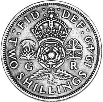 1949-1951 Great Britain Florin, Two Shillings reverse