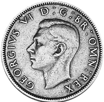1949-1951 GREAT BRITAIN Florin, Two Shillings obverse
