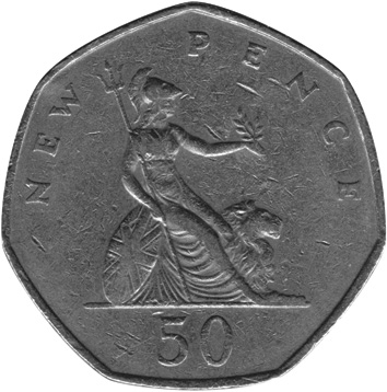 1969-1981 Great Britain 50 New Pence reverse