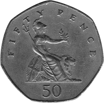 1985-1997 GREAT BRITAIN 50 Pence reverse