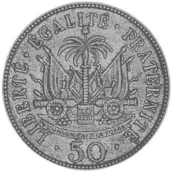 1907-1908 Haiti 50 Centimes reverse