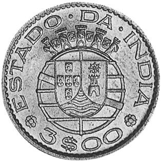 1958-1959 India-Portuguese 3 Escudos reverse