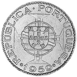 1958-1959 India-Portuguese 3 Escudos obverse