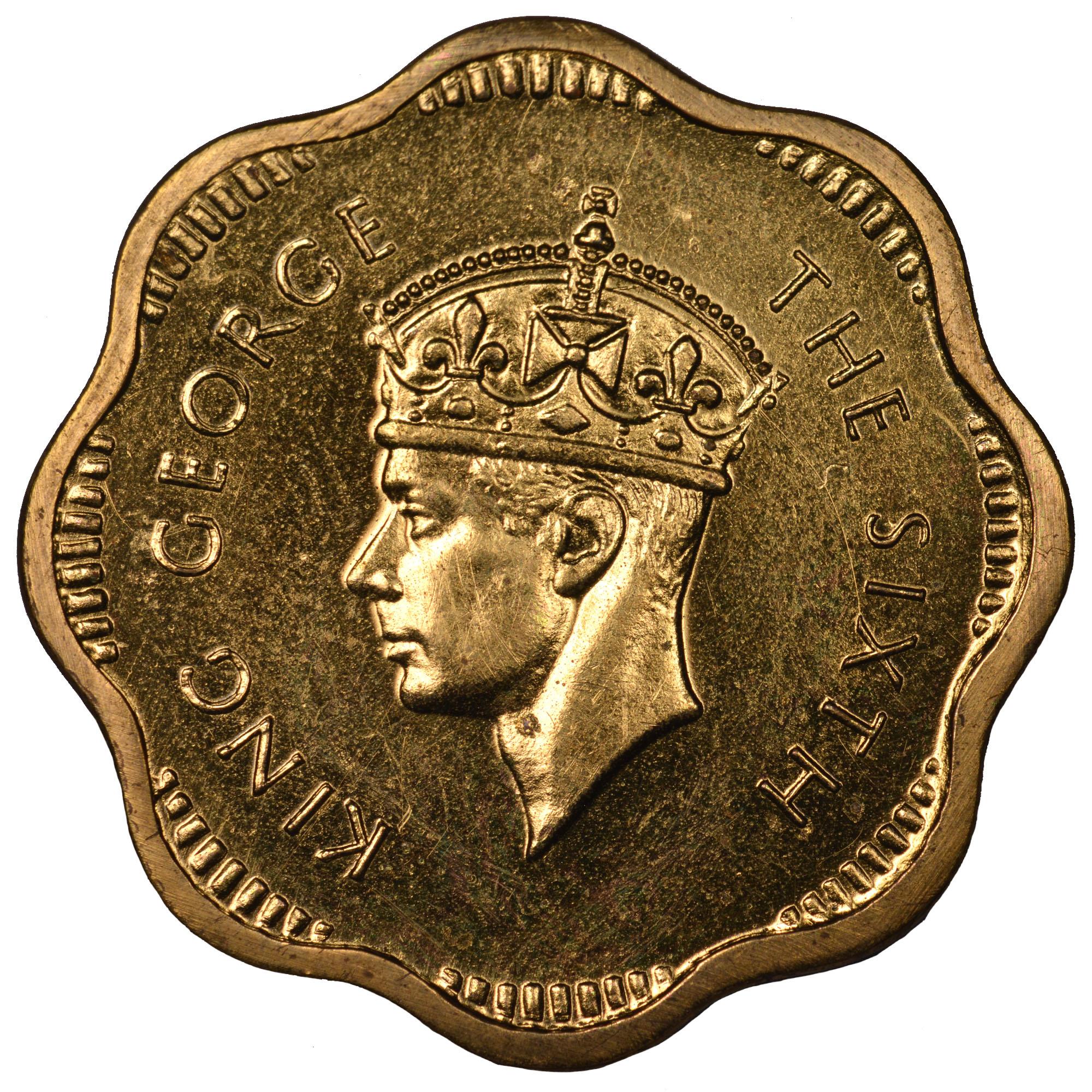 1951 Ceylon 2 Cents obverse