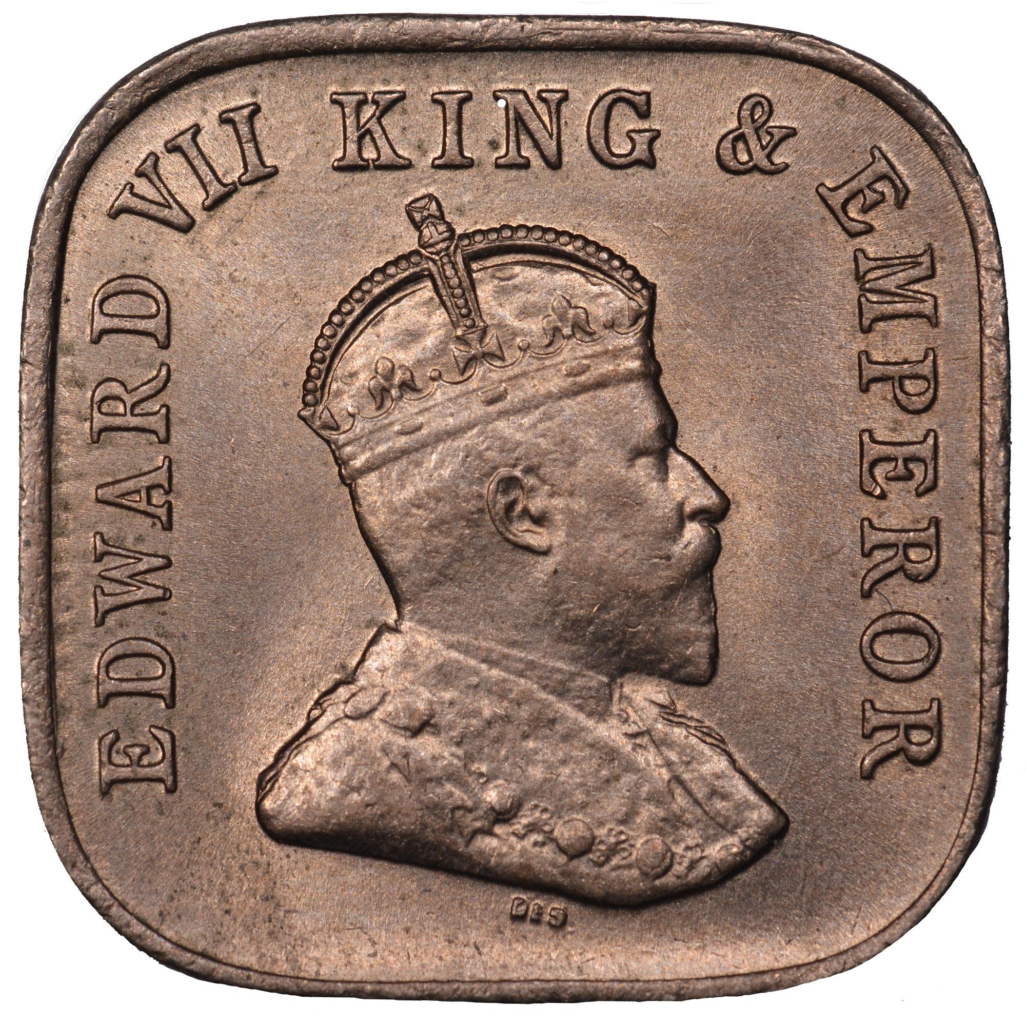 1909-1910 Ceylon 5 Cents obverse