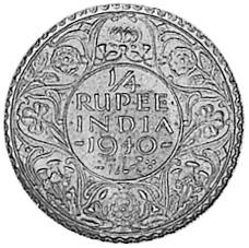 1940 India-British 1/4 Rupee reverse