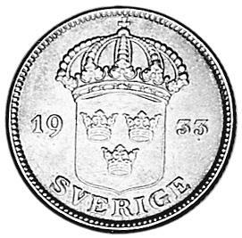 1911-1939 Sweden 50 Ore obverse