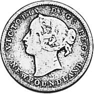 1865-1896 Newfoundland 5 Cents obverse