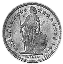 1875-1967 SWITZERLAND 1/2 Franc obverse