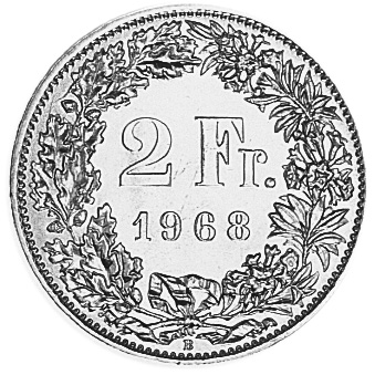 1968-1981 SWITZERLAND 2 Francs reverse