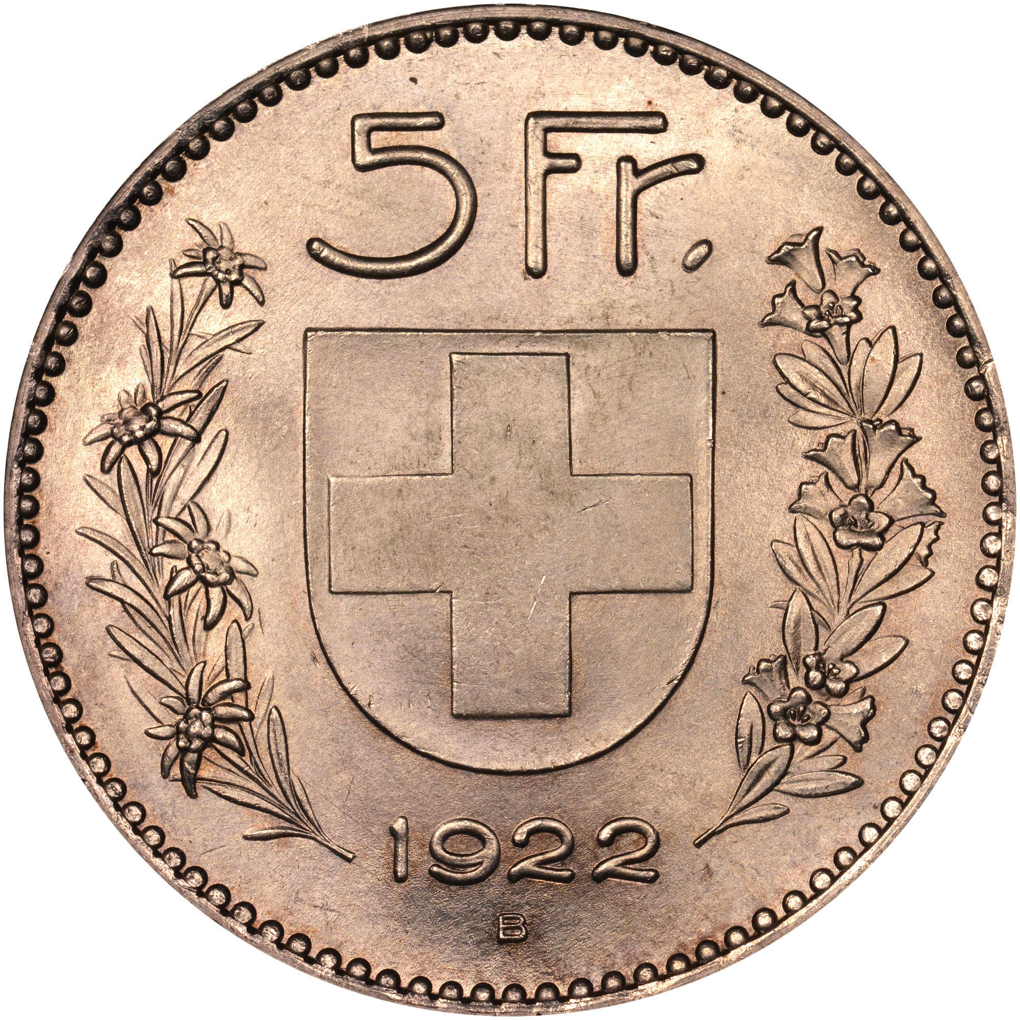 1922-1923 SWITZERLAND 5 Francs reverse
