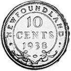 1938-1944 Newfoundland 10 Cents reverse