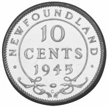 1945-1947 Newfoundland 10 Cents reverse