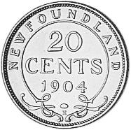 1904 Newfoundland 20 Cents reverse