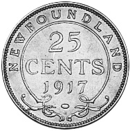 1917-1919 Newfoundland 25 Cents reverse