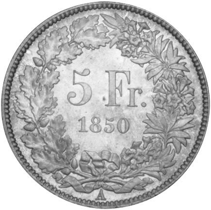 1850-1874 Switzerland 5 Francs KM 11 Prices & Values