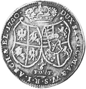 1734-1755 German States SAXONY-ALBERTINE 1/6 Thaler, 1/4 Gulden reverse