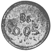 1939 Venezuela LEPER COLONIES 0.05 Bolivar, 5 Centimos reverse