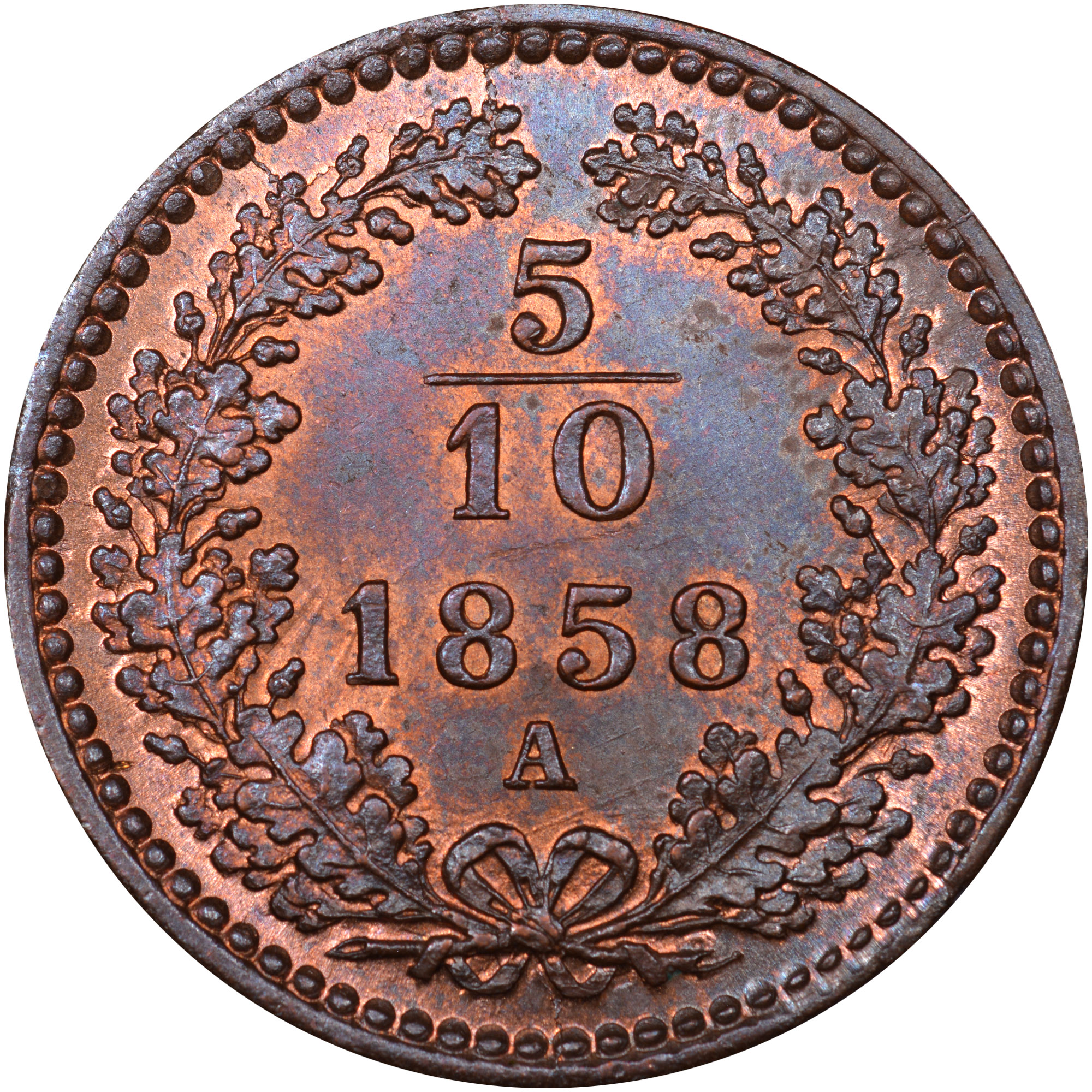 1858-1866 Austria 5/10 Kreuzer reverse