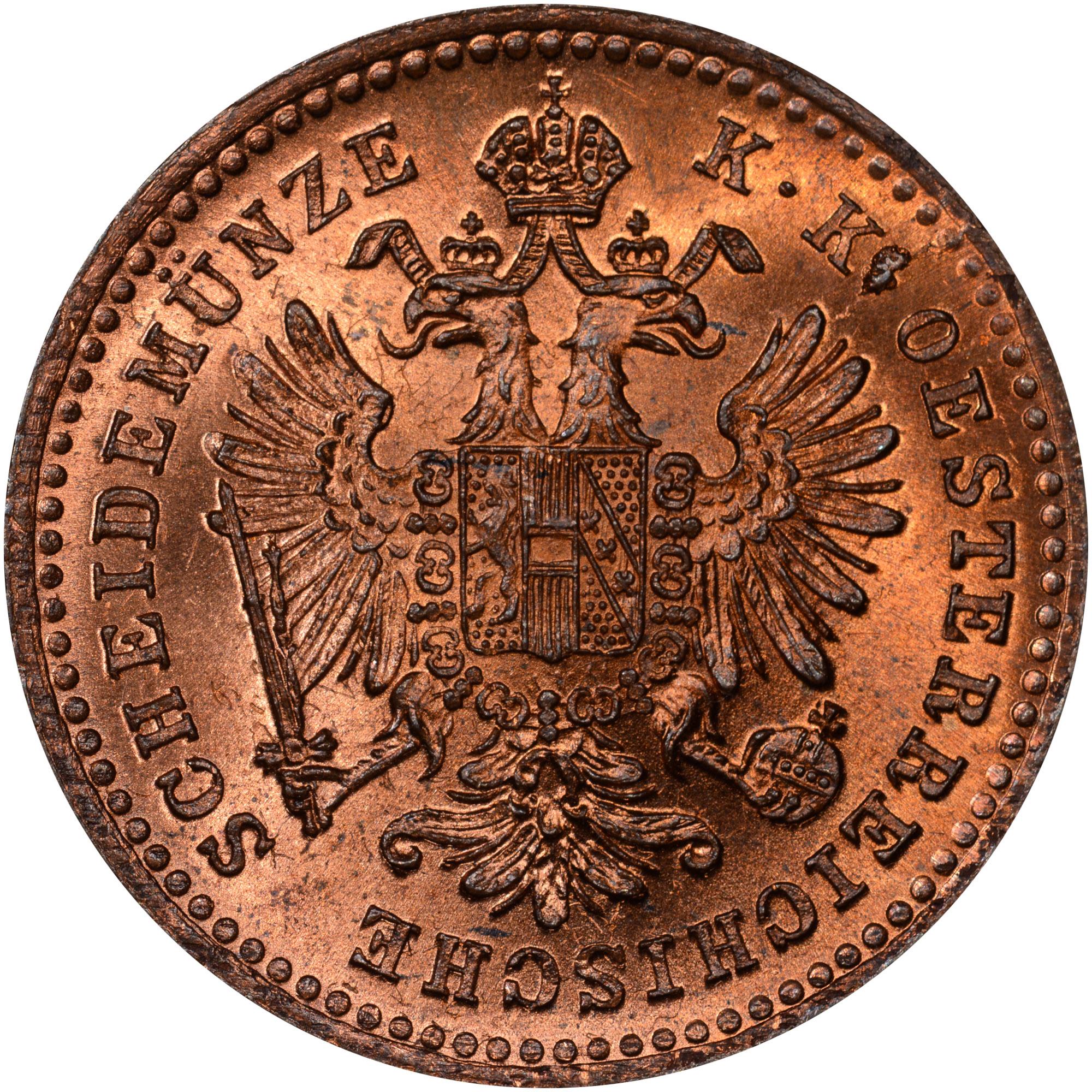 1858-1881 Austria Kreuzer obverse