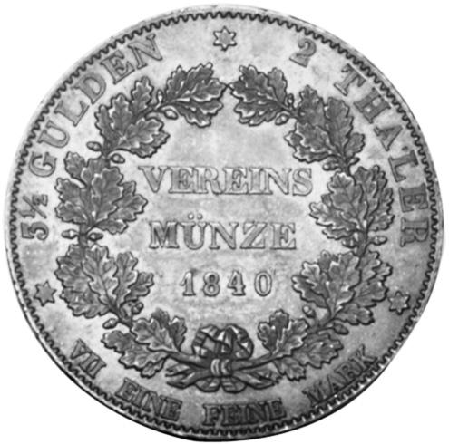 1839-1842 German States HESSE-DARMSTADT 2 Thaler, 3-1/2 Gulden reverse