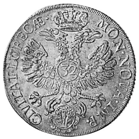 1758 German States LUBECK 32 Schilling, Gulden reverse