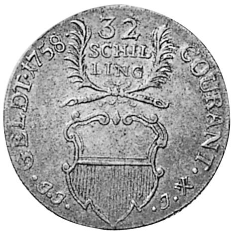 1758 German States LUBECK 32 Schilling, Gulden obverse